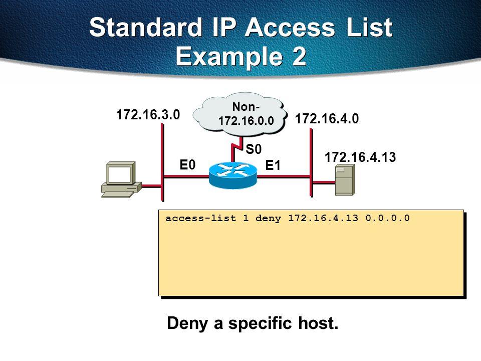 Standard IP Access List Example 2