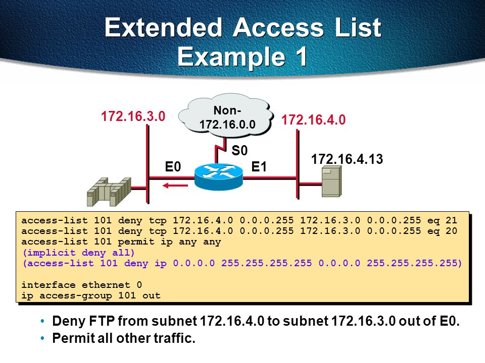 Extended Access List Example 1
