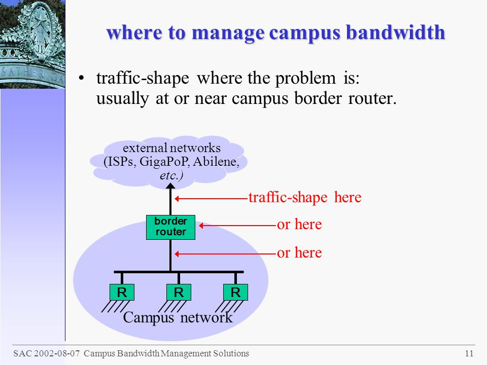 where to manage campus bandwidth