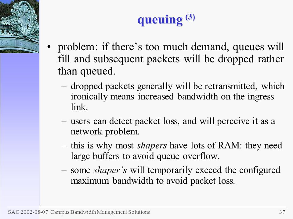 queuing (3) problem: if there's too much demand, queues will fill and subsequent packets will be dropped rather than queued.