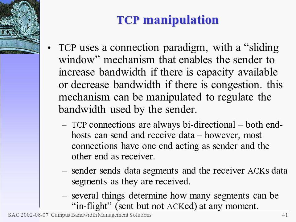 TCP manipulation