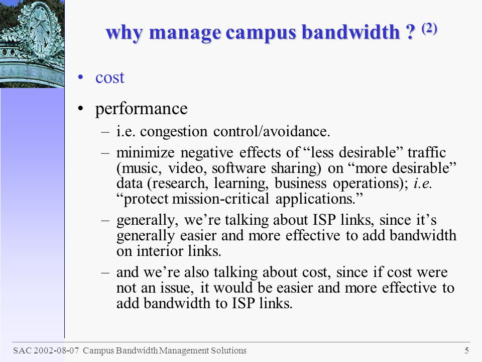 why manage campus bandwidth (2)
