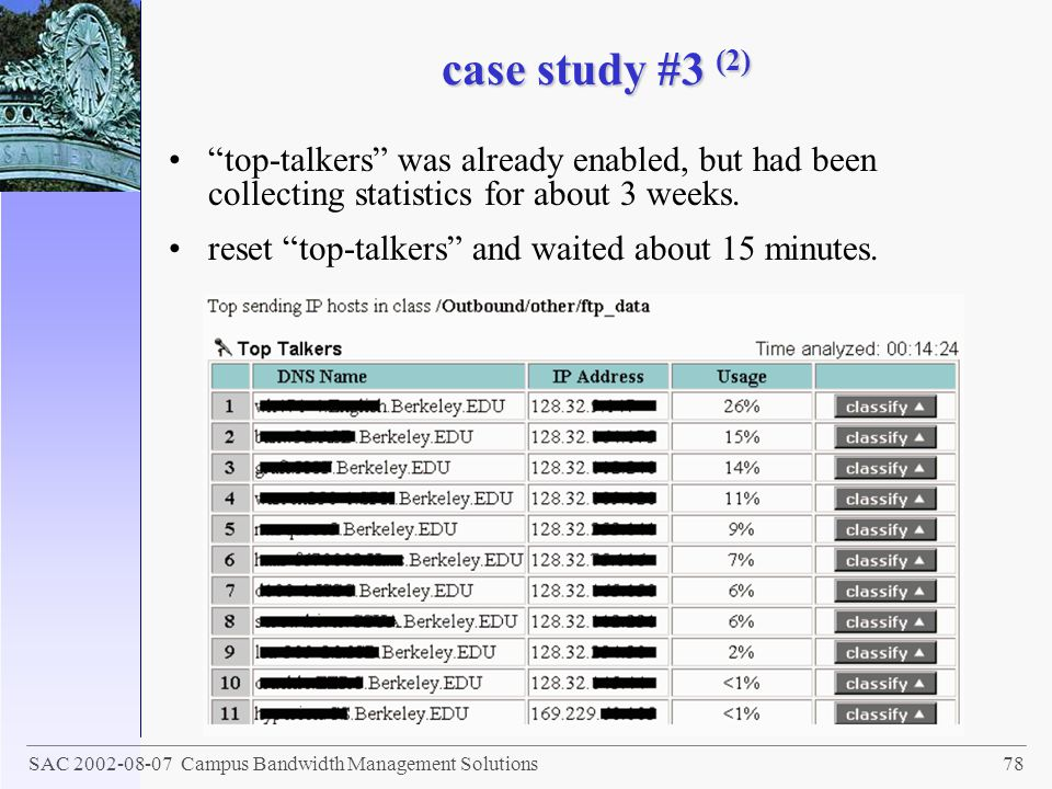 case study #3 (2) top-talkers was already enabled, but had been collecting statistics for about 3 weeks.