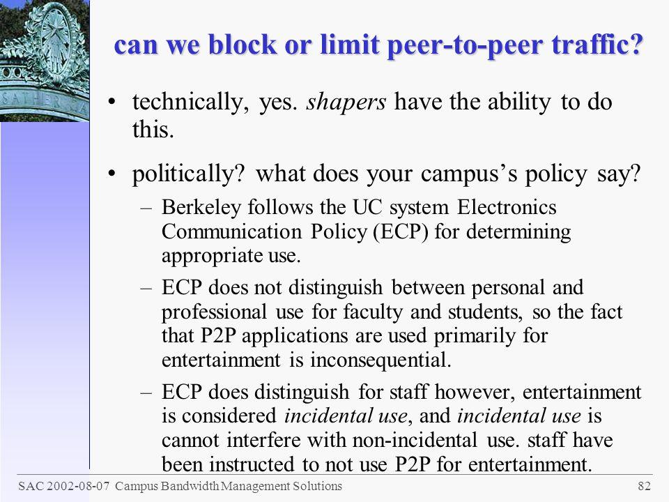 can we block or limit peer-to-peer traffic