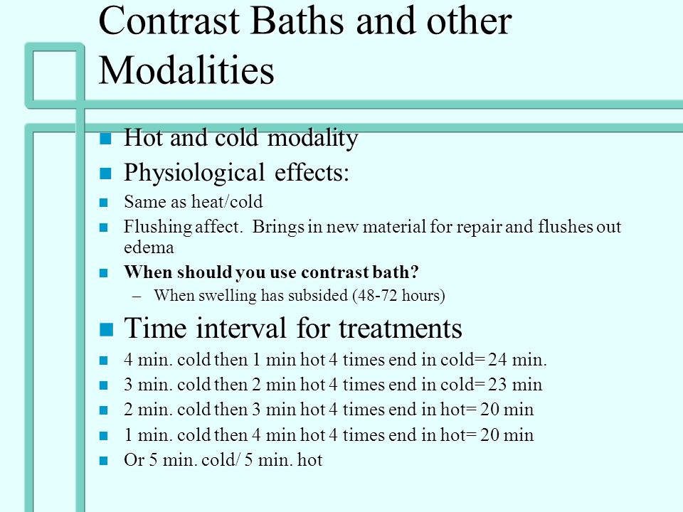 Contrast Baths and other Modalities