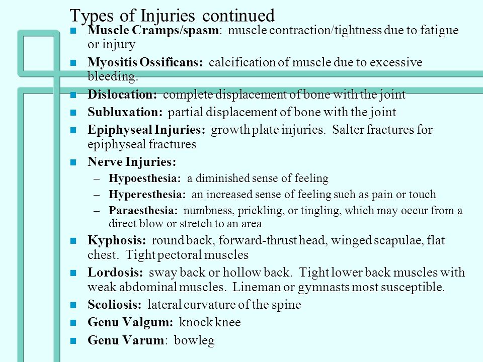Types of Injuries continued