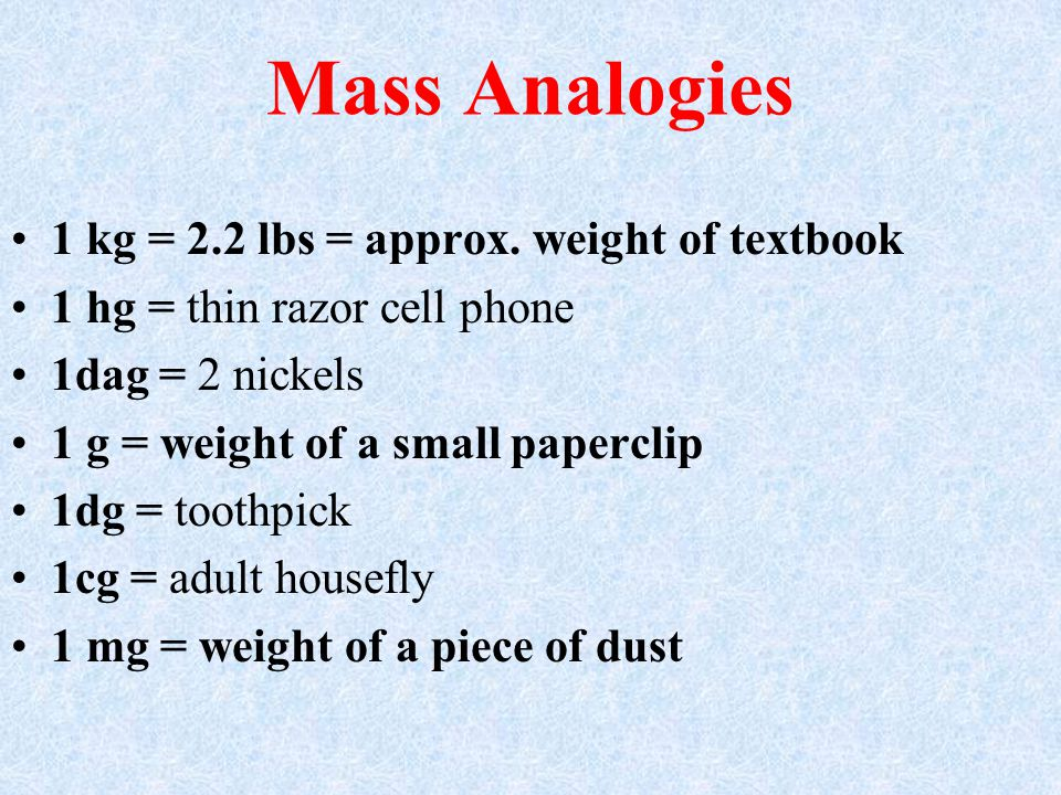 Mass Analogies 1 kg = 2.2 lbs = approx. weight of textbook