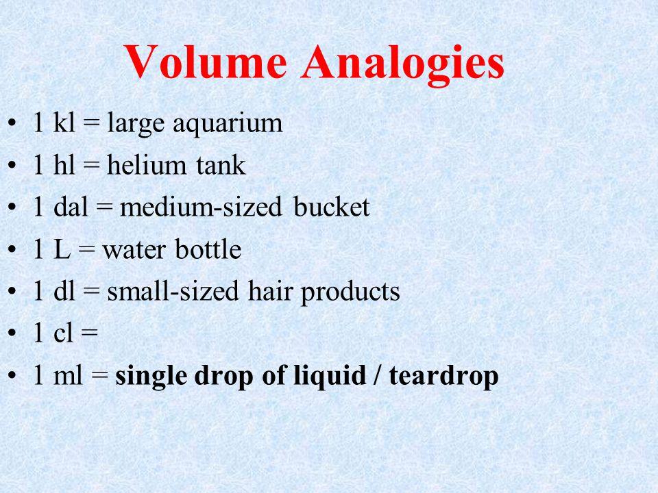 Volume Analogies 1 kl = large aquarium 1 hl = helium tank