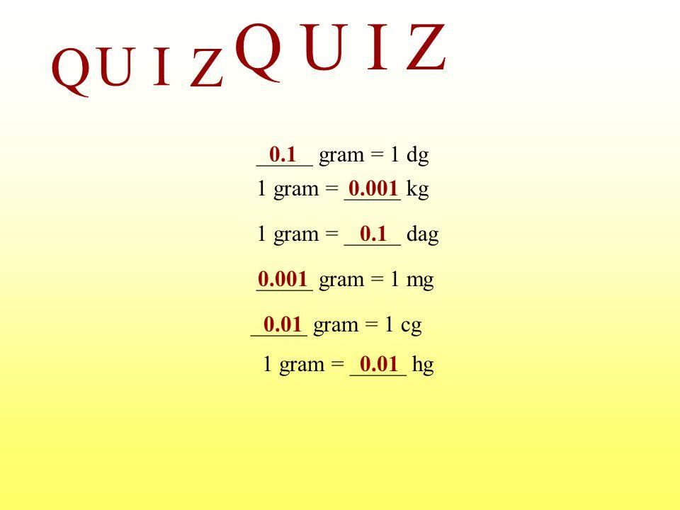 Q U I Z Q U I Z _____ gram = 1 dg 0.1 1 gram = _____ kg 0.001