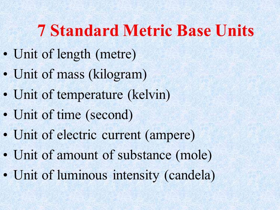 7 Standard Metric Base Units