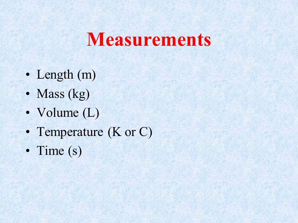 Measurements Length (m) Mass (kg) Volume (L) Temperature (K or C)