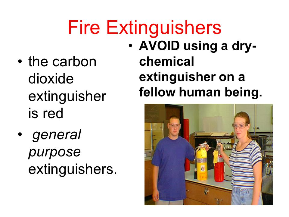 Fire Extinguishers the carbon dioxide extinguisher is red
