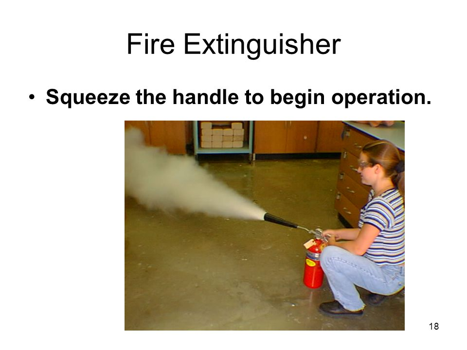 Fire Extinguisher Squeeze the handle to begin operation.