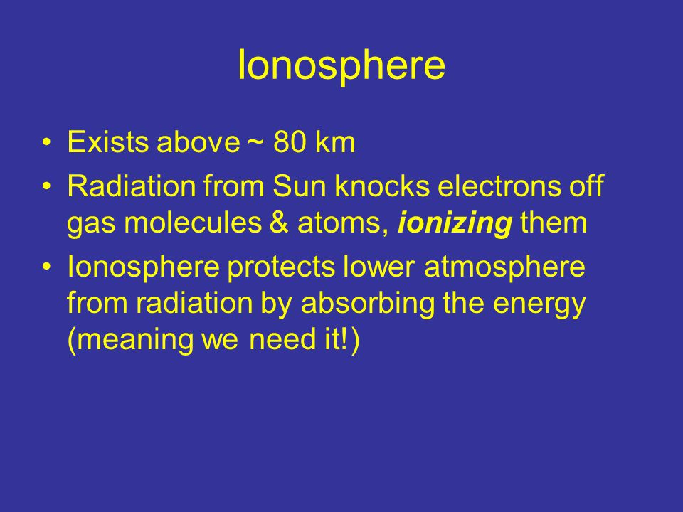 Ionosphere Exists above ~ 80 km