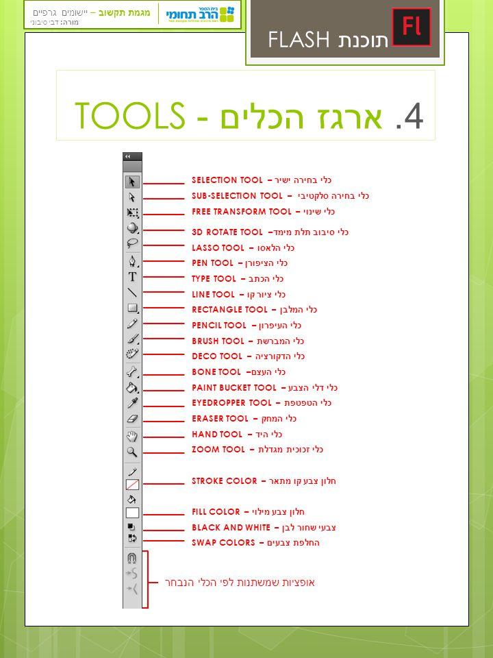 4. ארגז הכלים - TOOLS תוכנת FLASH TOOLS אופציות שמשתנות לפי הכלי הנבחר