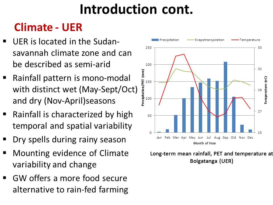 Long-term mean rainfall, PET and temperature at Bolgatanga (UER)