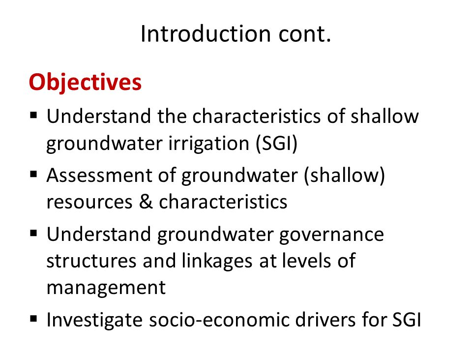 Introduction cont. Objectives