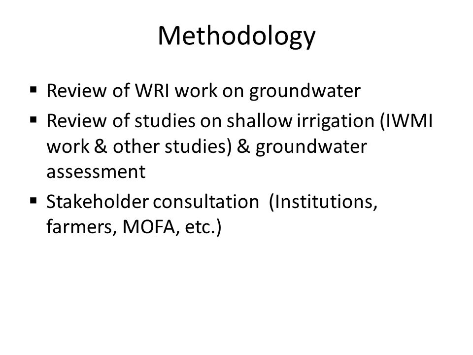 Methodology Review of WRI work on groundwater