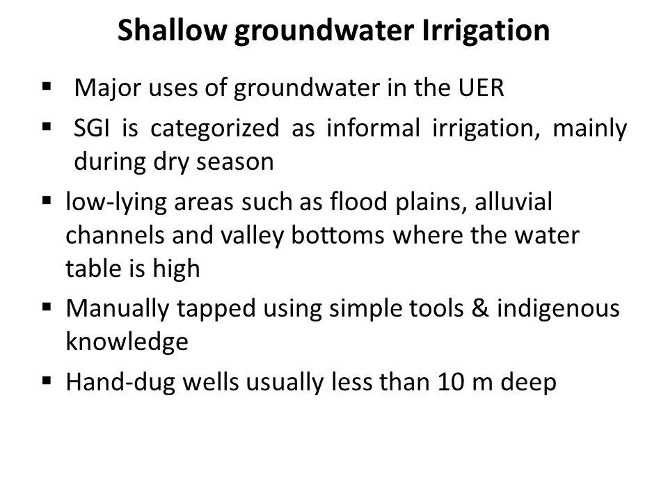 Shallow groundwater Irrigation