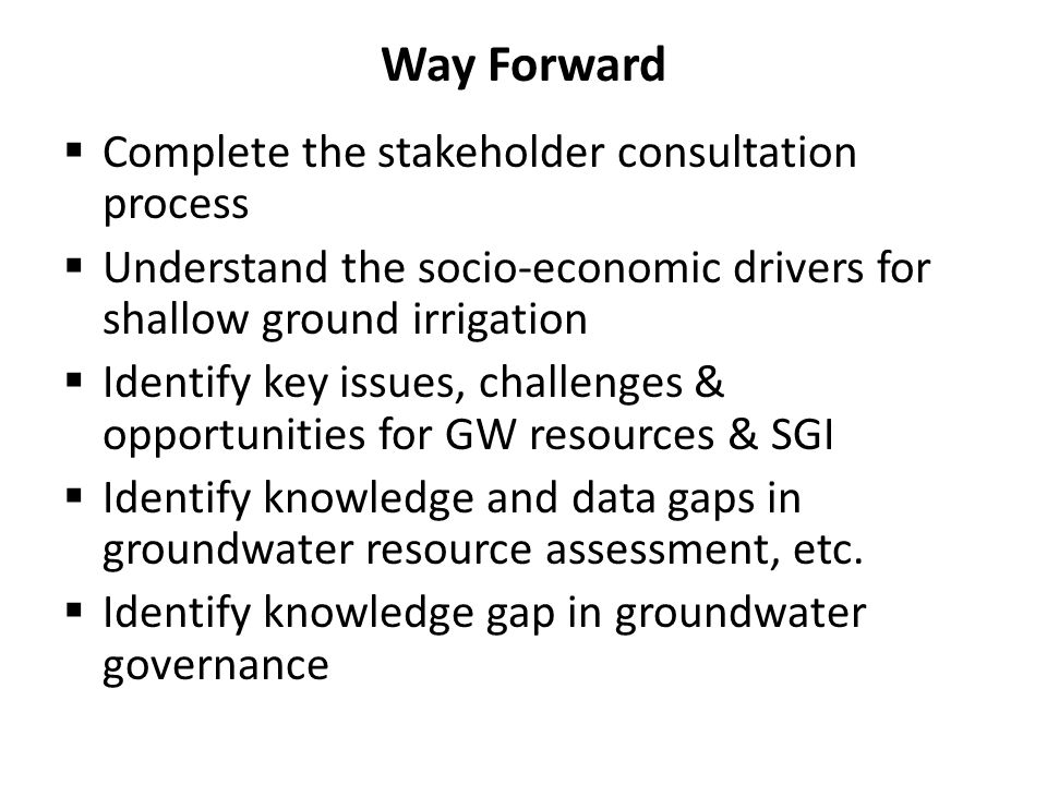 Way Forward Complete the stakeholder consultation process