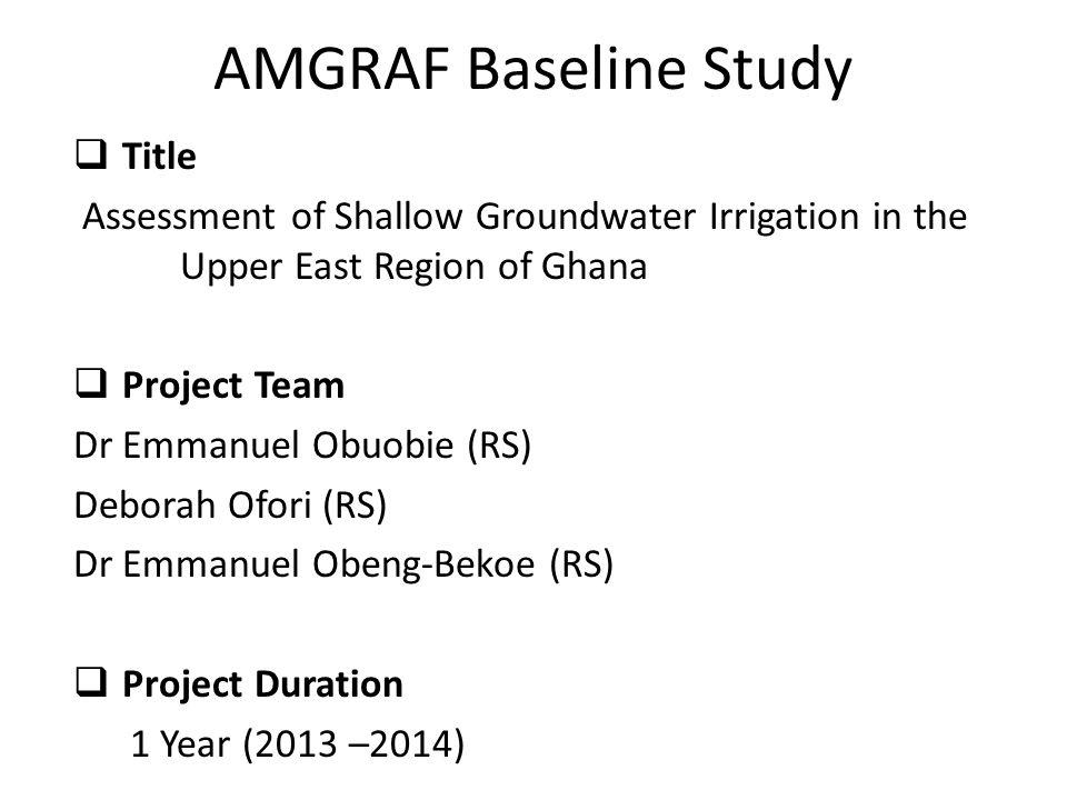 AMGRAF Baseline Study Title