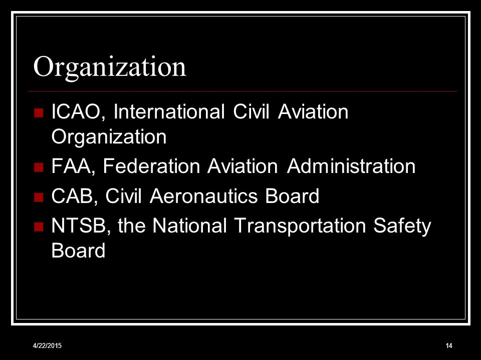 Organization ICAO, International Civil Aviation Organization