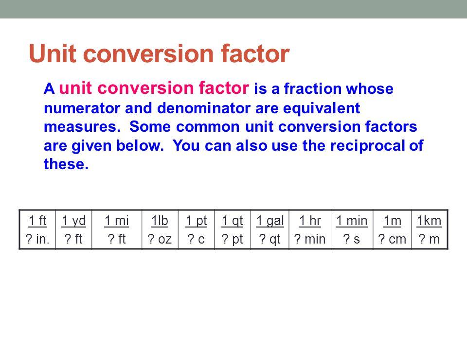 Unit conversion factor