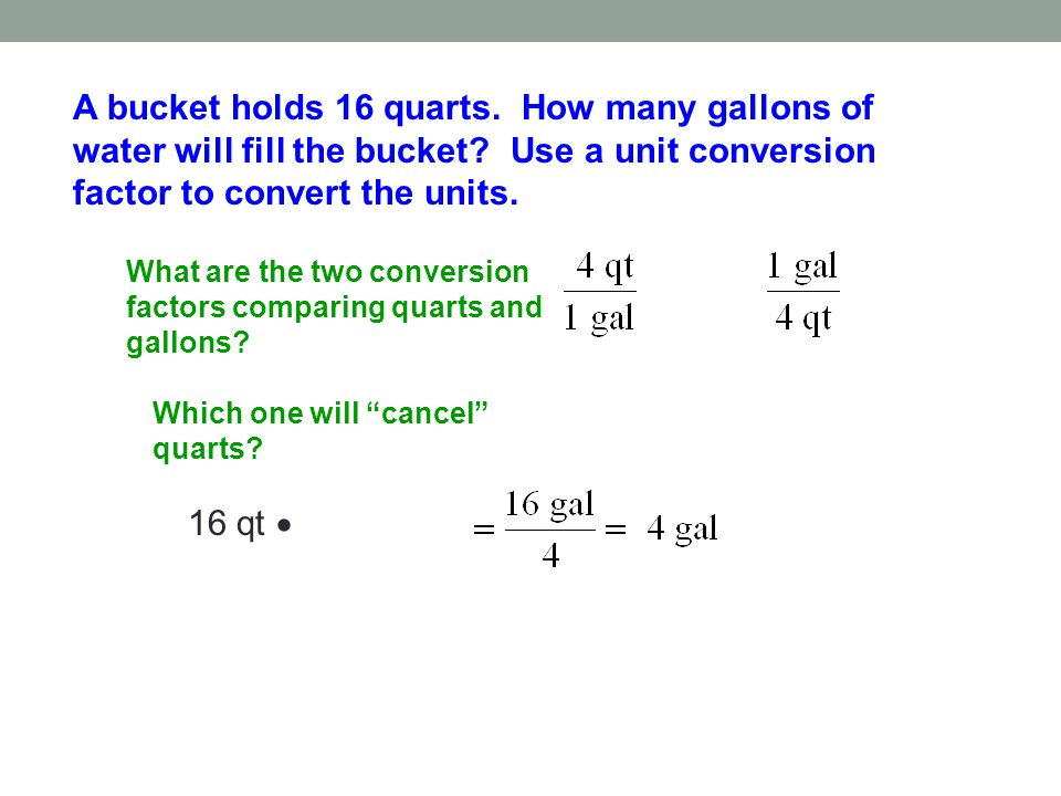 A bucket holds 16 quarts. How many gallons of water will fill the bucket Use a unit conversion factor to convert the units.