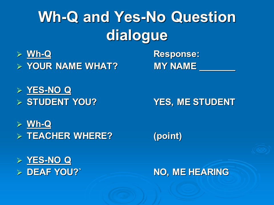 Wh-Q and Yes-No Question dialogue