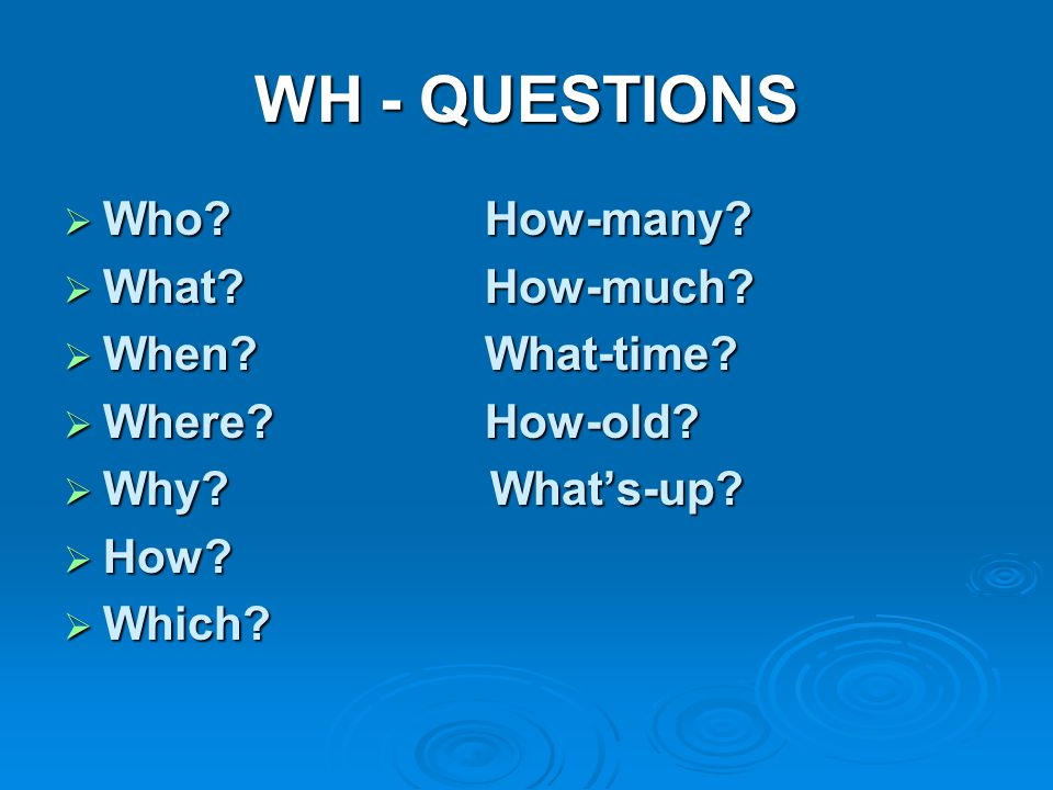 WH - QUESTIONS Who How-many What How-much When What-time