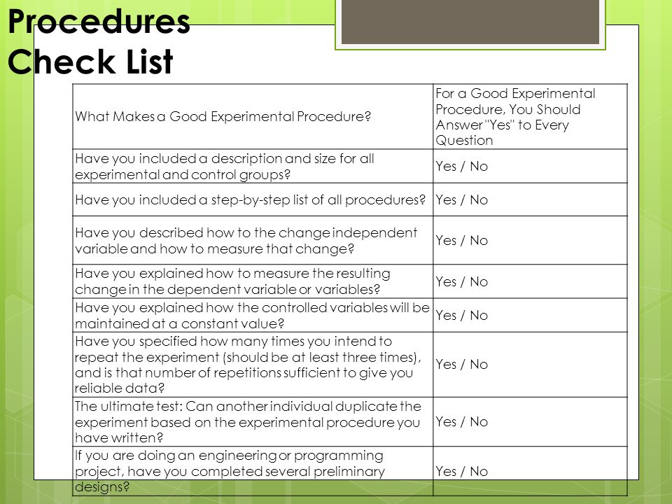 Procedures Check List What Makes a Good Experimental Procedure For a Good Experimental Procedure, You Should Answer Yes to Every Question.