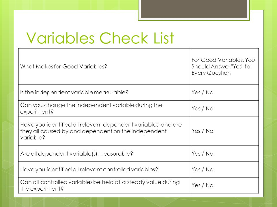 Variables Check List What Makes for Good Variables