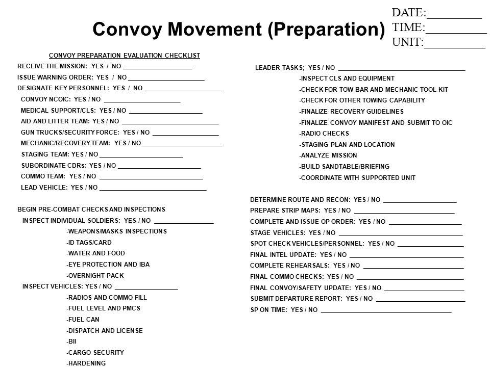 Convoy Movement (Preparation) CONVOY PREPARATION EVALUATION CHECKLIST