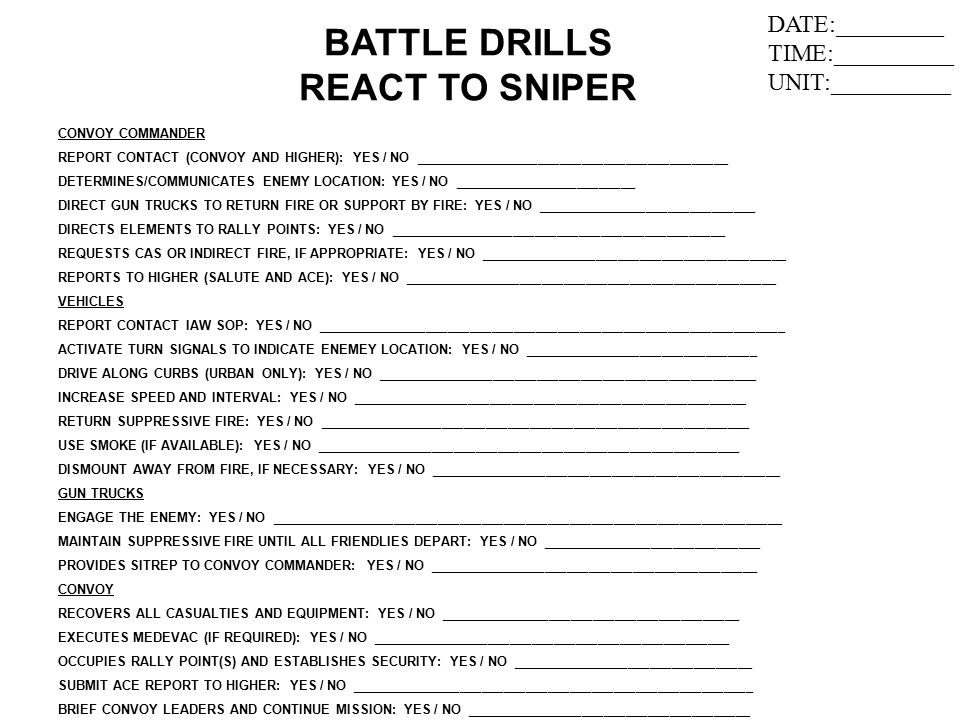 BATTLE DRILLS REACT TO SNIPER