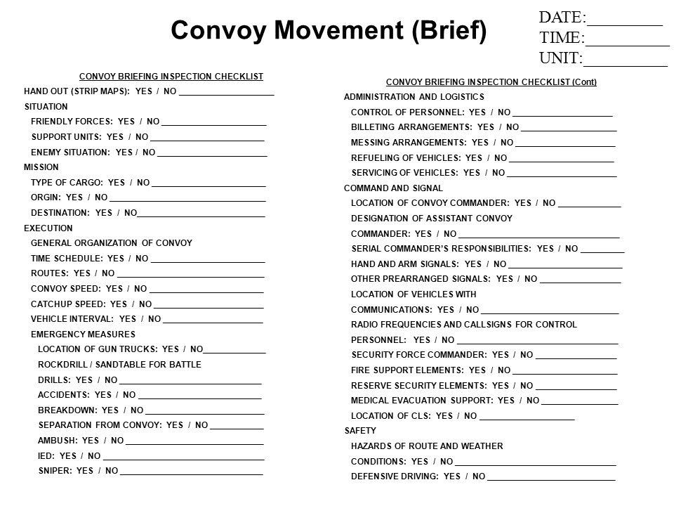 army briefing template - convoy movement preparation convoy preparation