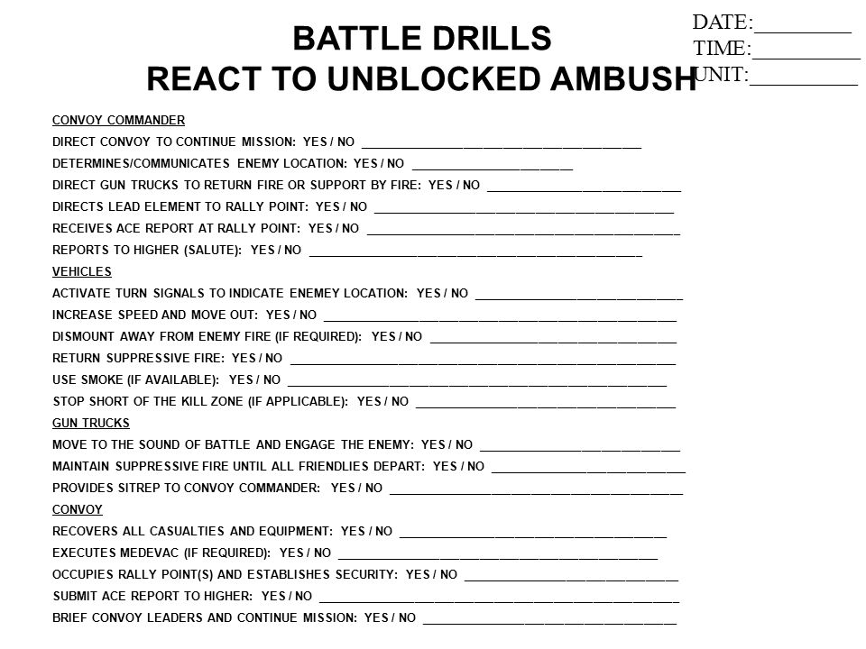 BATTLE DRILLS REACT TO UNBLOCKED AMBUSH