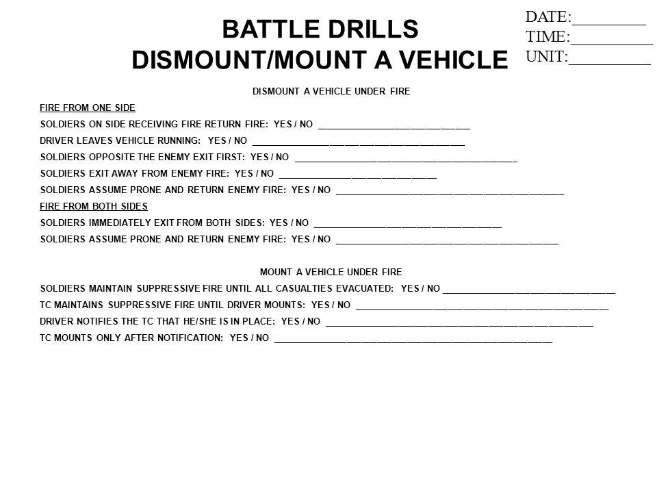 BATTLE DRILLS DISMOUNT/MOUNT A VEHICLE
