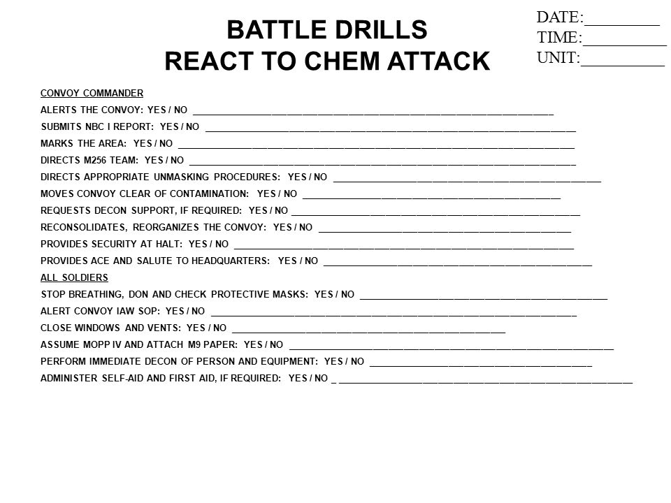 BATTLE DRILLS REACT TO CHEM ATTACK