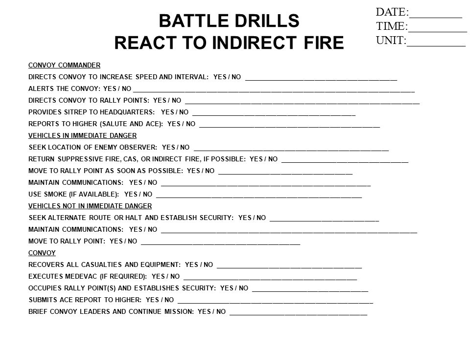 BATTLE DRILLS REACT TO INDIRECT FIRE