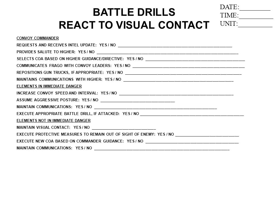 BATTLE DRILLS REACT TO VISUAL CONTACT