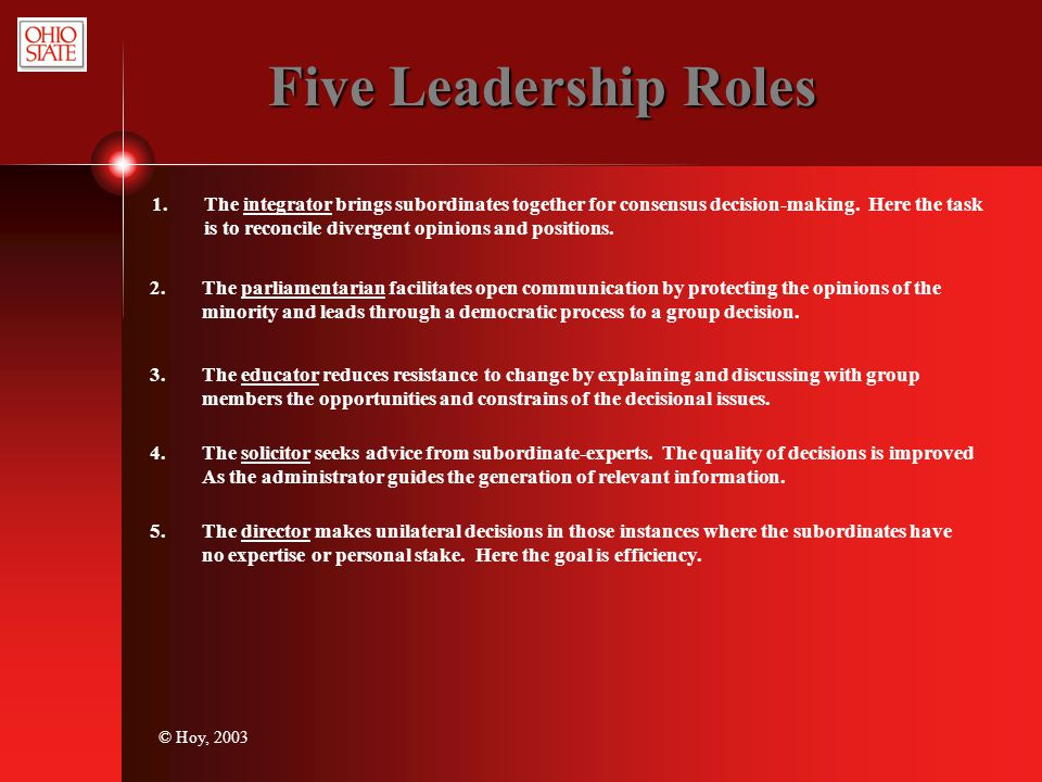 Five Leadership Roles