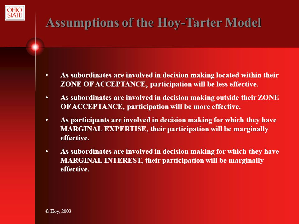 Assumptions of the Hoy-Tarter Model