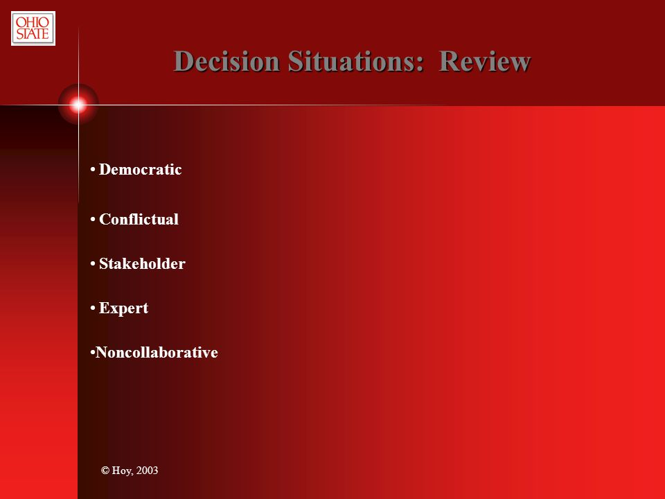 Decision Situations: Review