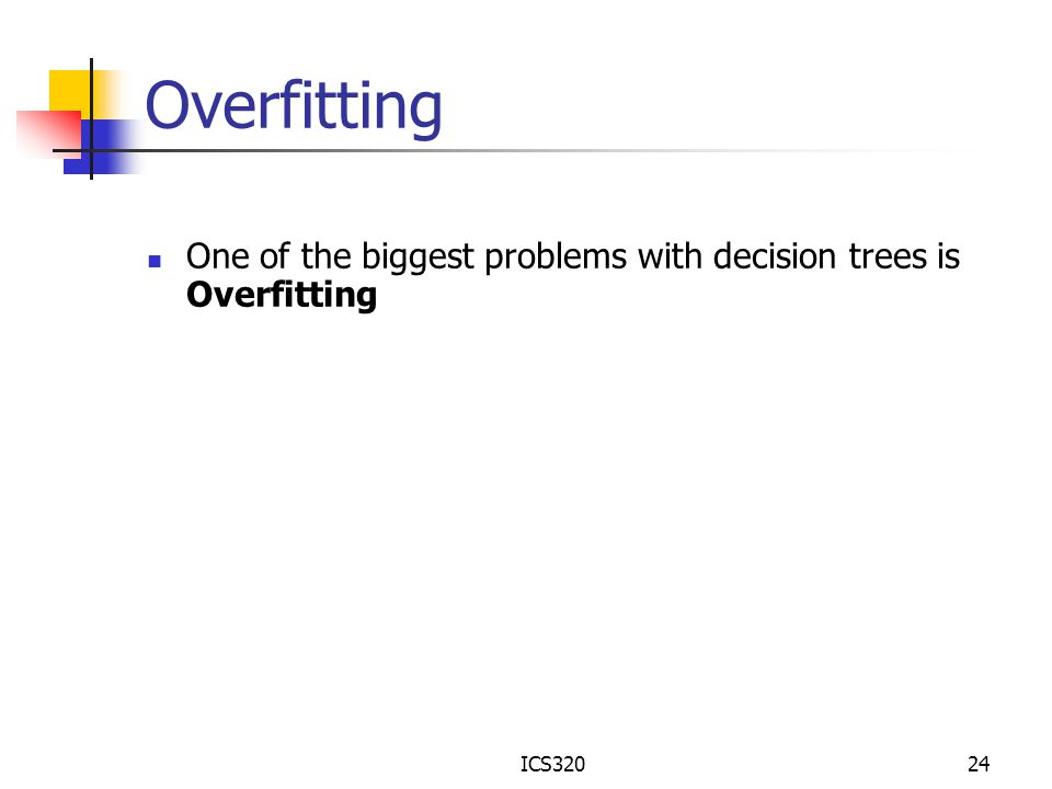 Overfitting One of the biggest problems with decision trees is Overfitting ICS320
