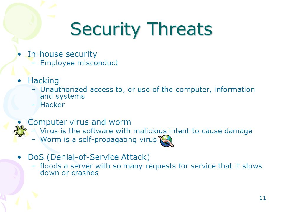 Security Threats In-house security Hacking Computer virus and worm