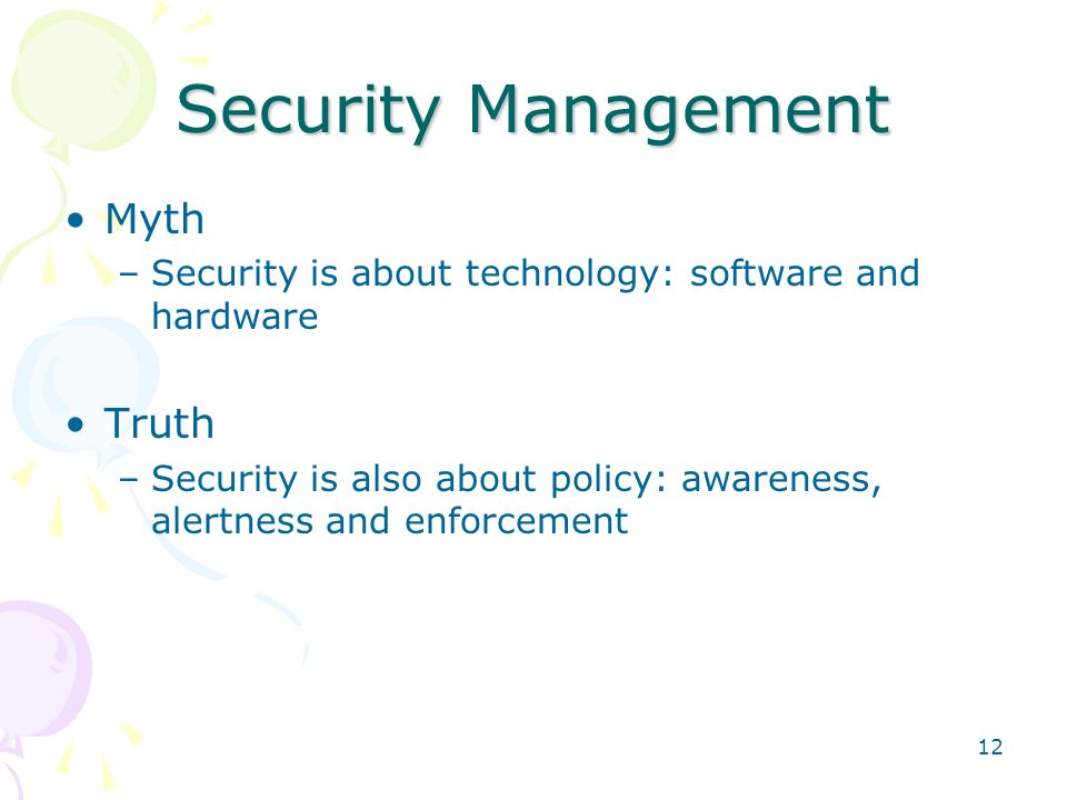 Security Management Myth Truth