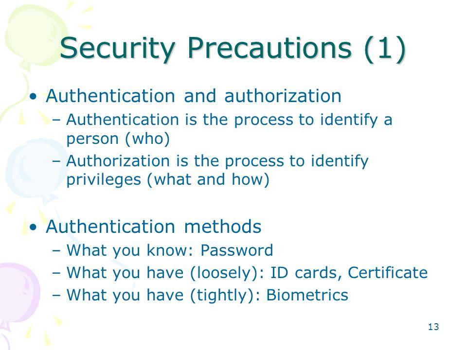Security Precautions (1)