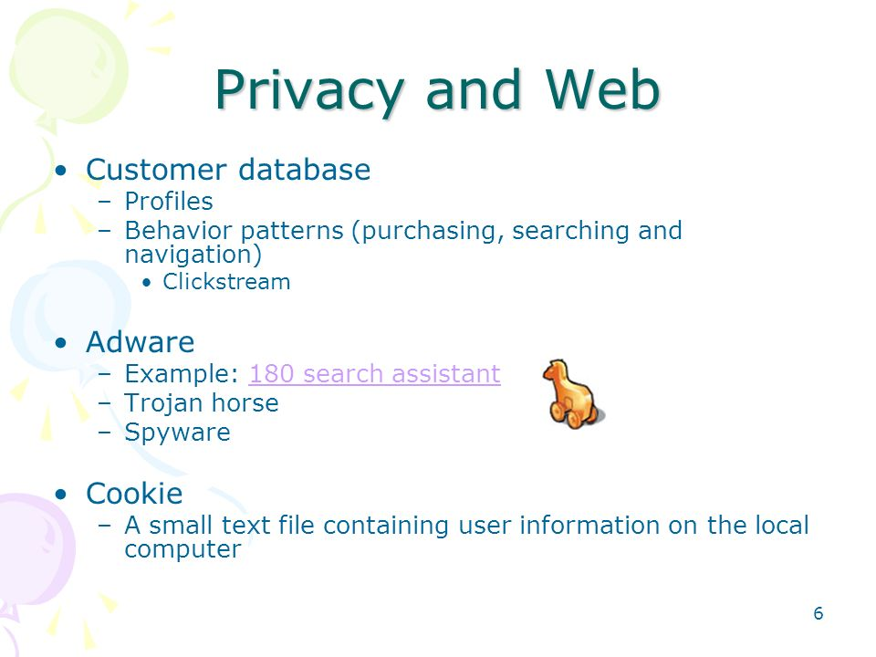 Privacy and Web Customer database Adware Cookie Profiles
