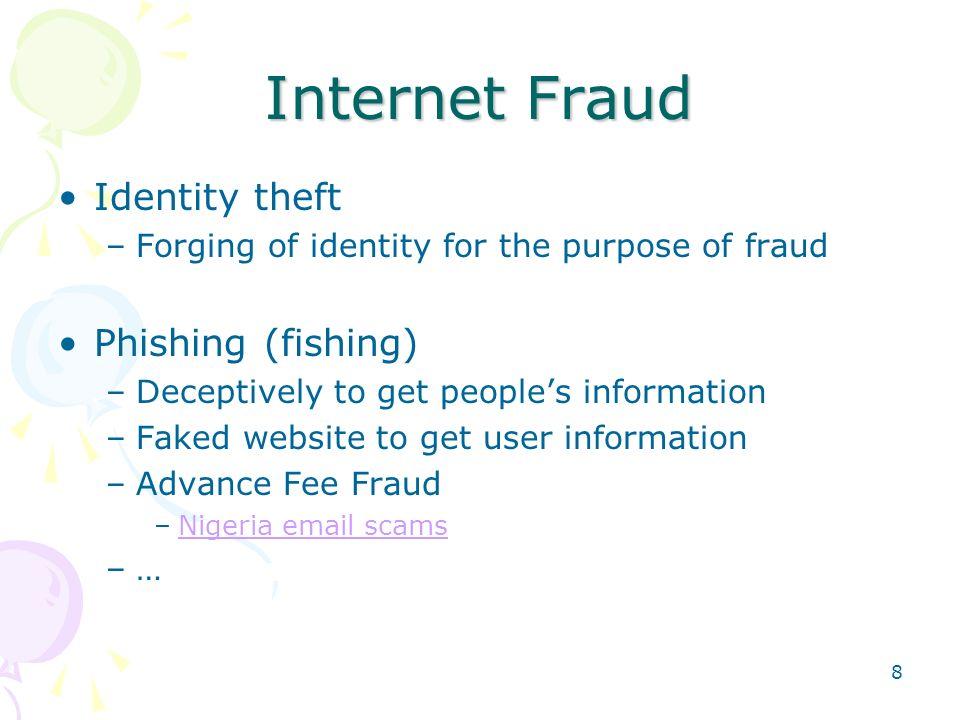 Internet Fraud Identity theft Phishing (fishing)