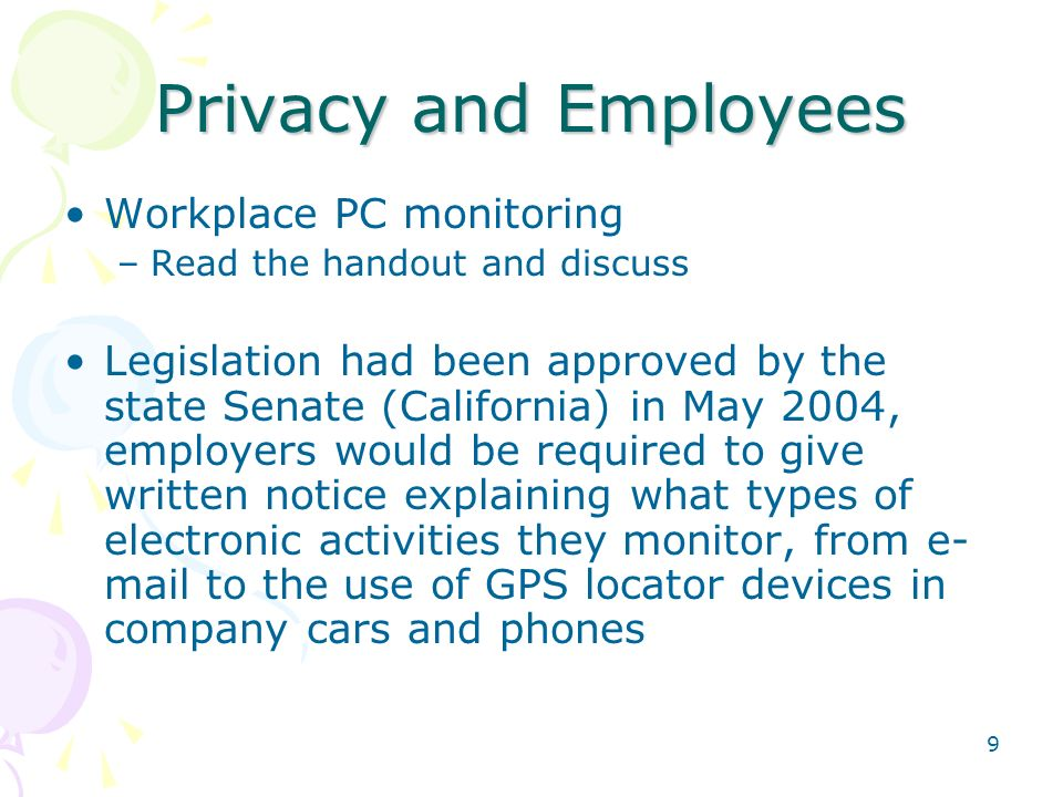 Privacy and Employees Workplace PC monitoring